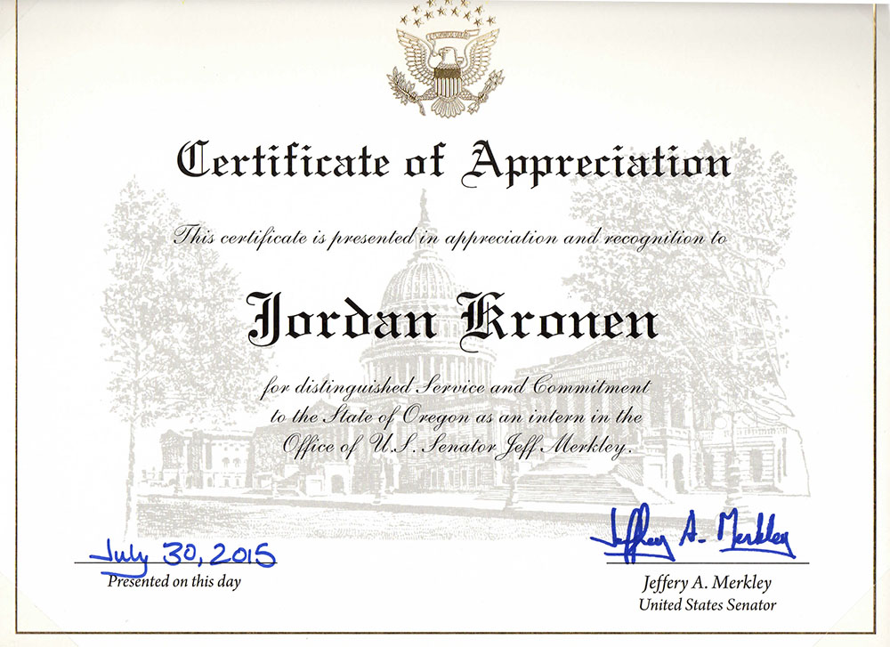 Certificate of Appreciation from Senator Jeffery Merkley