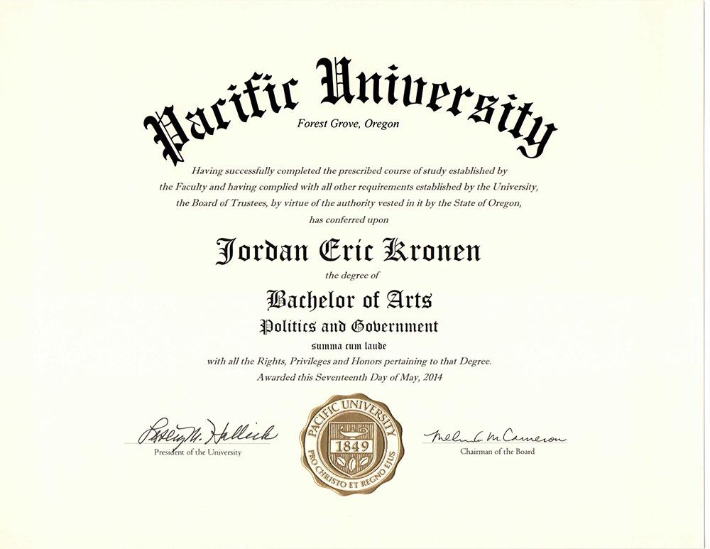Pacific University BA Degree in Politics & Government