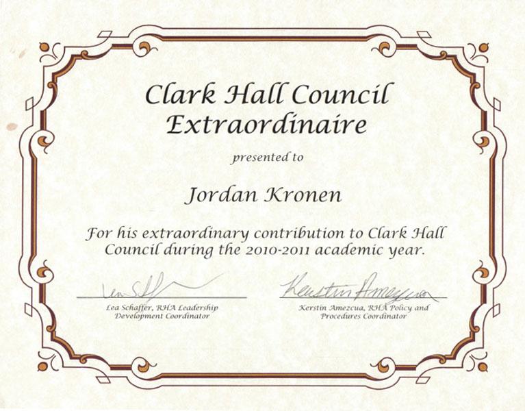 Clark Hall Council Extraordinaire 2010-2011 Academic Year