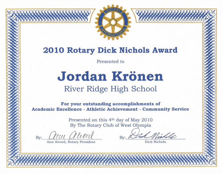Rotary Dick Nichols Award 2010 River Ridge High School