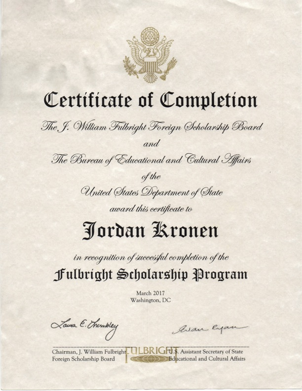 Certificate of Completion Fulbright Scholarship Program